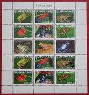 Surinam / Suriname 2007 Kikker Frog Frosch Grenouille Complete Sheet (ZBL 1493-1498 Mi 2166-2171) POSTFRIS / MNH ** - Surinam