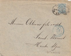 LETTRE DANMARK. SEPT 1884. POUR LA FRANCE. CACHET PERLÉ BLEU PARIS ETRANGER - 1864-04 (Christian IX)