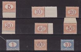 Italia Regno - 135 ** 1890 Segnatasse – Cifra In Ovale N. 20/28. Cat. € 875,00 Cert. Biondi. SPL - 1900-44 Vittorio Emanuele III