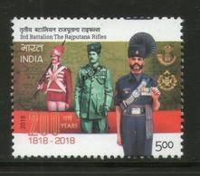 India 2018 3rd Battalion Rajputana Rifles Military Costume 1v MNH - Militaria