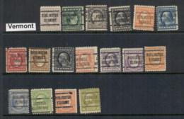 USA 1908-1919 Washington Franklin Precancels T&C Assortment, Vermont - Stamps