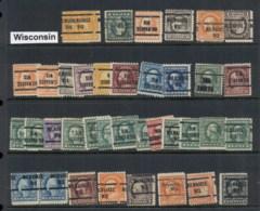 USA 1908-1919 Washington Franklin Precancels T&C Assortment, Wisconsin - Stamps
