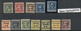 USA 1908-1919 Washington Franklin Precancels T&C Assortment, New Hampshire - Stamps