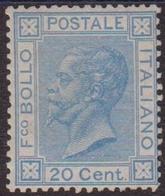 Italia Regno - 052** 1867 – Vittorio E. II 20 C. Azzurro Con Discreta Centratura N. T25. Cert. Biondi. - 1900-44 Vittorio Emanuele III