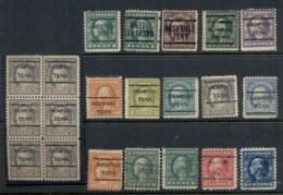 USA 1908-1919 Washington Franklin Precancels T&C Assortment, Tenessee - Stamps