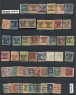 USA 1908-1919 Washington Franklin Precancels T&C Assortment, Rhode Island - Stamps