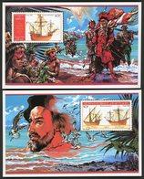DJIBOUTI 2 BLOCS FEUILLETS SPECIAUX SUR PAPIER GOMME N° 620 à 621 . CARAVELLES DE CHRISTOPHE COLLOMB (1986) . - Christopher Columbus