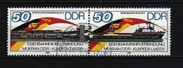 DDR - Mi-Nr. 3052 - 3053 Zusammendruck Eröffnung Eisenbahnverbindung Mukran-Klaipeda Gestempelt - [6] Democratic Republic