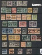 USA 1908-1919 Washington Franklin Precancels T&C Assortment, New Jersey - Stamps