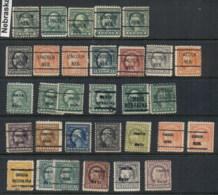 USA 1908-1919 Washington Franklin Precancels T&C Assortment, Nebraska - Stamps