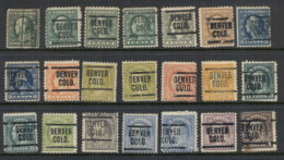 USA 1908-1919 Washington Franklin Precancels T&C Assortment, Colorado - Stamps