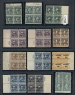 USA 1908-1919 Washington Franklin Precancels T&C Assortment, Blocks & Multiples, Plate Block, Imprint Etc, Some Mint, Ha - Stamps