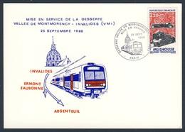 France Rep. Française 1988 Card / Karte / Carte - Mise En Service Vallee De Montmorency - Invalides / Inbetriebnahme - Treinen