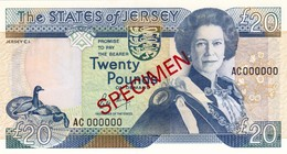 """JERSEY 20 POUNDS ND 1989 SPECIMEN UNC P-18s """"free Shipping Via Registered Air Mail"""" - Jersey"""