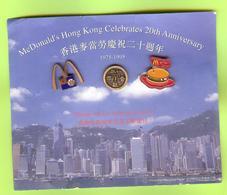 3 Pin's Mac Do McDonald's Hong Kong 1975-1995 (Carton Usé) - 2AA21 - McDonald's