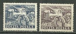POLAND MNH ** 699-700 Industrie Automobile Auto Voiture Usine De Lublin Ouvrier - 1944-.... République