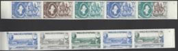 Wallis Et Futuna Essais De Couleur Poste Aérienne N° 16 Et 17 Mata-Utu Et Carte Des Îles 2 Valeurs En Bande De 5 Qualité - Wallis-Et-Futuna