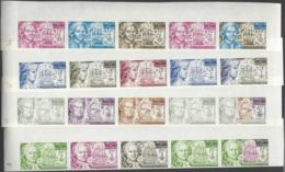 Wallis Et Futuna Essais De Couleur Poste Aérienne N° 44 à 47 Navigateurs 4 Valeurs En Bande De 5 Qualité: ** Cote:  € - Wallis-Et-Futuna