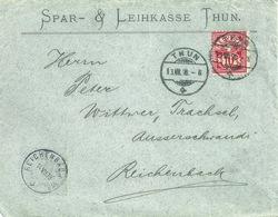 """Motiv Brief  """"Spar- & Leihkasse, Thun"""" - Reichenbach           1898 - 1882-1906 Armarios, Helvetia De Pie & UPU"""
