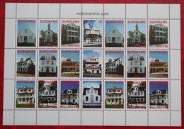 Surinam / Suriname 2008 Monumenten Monuments Buildings Complete Sheet (ZBL 1542-1550 Mi 2212-2220)  POSTFRIS / MNH ** - Surinam