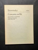 Musica Spartiti - I. Strawinsky - Concerto En Ré - Violon Et Orchestre - Vecchi Documenti