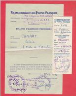 BULLETINS D ADHESION PROVISOIRE AU RPF RASSEMBLEMENT DU PEUPLE FRANCAIS 1947 PONT AUDEMER SAINT OUEN DE THOUBERVILLE - Organisations