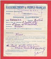 BULLETIN DE DEMANDE D ADHESION AU RPF RASSEMBLEMENT DU PEUPLE FRANCAIS 1947 PONT AUDEMER SAINT OUEN DE THOUBERVILLE - Organisations