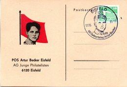 """(DDR-SB) DDR  Sonderkarte """"POS Artur Becker Eisfeld - 80.Geburtstag Artur Becker"""" EF DDR Mi 2484 SSt.17.5.85 EISFELD - Cartas"""