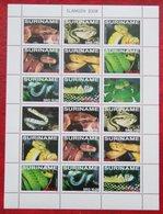 Surinam  Suriname 2008 Snake Slangen Serpent Tubi Complete Sheet (ZBL 1551-1558 Mi 2221-2228) POSTFRIS MNH ** - Surinam