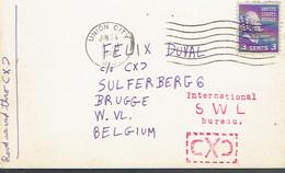 Timbre Thomas Jefferson Perforé ACL Sur CP (QSL Card) De1948 Vers La Belgique - Perforados