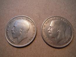 M27  2 X Half Crown George V 1921 Et 1923  Silver - 1902-1971 : Monnaies Post-Victoriennes