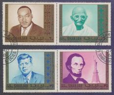 SHARJAH 1968 - Famous Persons, Gandhi, Kennedy, Lincoln, Set Of 4v. CTO Fine Used - Mahatma Gandhi