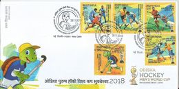 First Day Cover With 5 Stamps Cancelled On Day Of Issue,Odisha Hockey Men's World Cup, Hockey Stic,Hockey Trophy, Inde - Hockey (Veld)