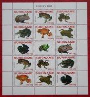 Surinam / Suriname 2009 Kikkers Frogs Frosch Rana Grenouille Complete Sheet (ZBL 1586-1592 MI 2261-2267) POSTFRIS MNH ** - Surinam