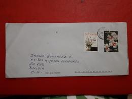 St Vincent Enveloppe Circulé Avec Timbre De Fleurs - St.Vincent (1979-...)