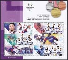 South Korea KPCC2665-70 Medalist Of 2018 PyeongChang Winter Paralympics, Cross-Country Skiing, Ice Hockey, Full Sheet - Corée Du Sud