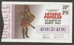 Loterie Populaire PORTUGAL 30-08-1994 Musée Marionnette Sicile Italie Théâtre Lottery Sicilia Italy Puppet Theater - Billets De Loterie