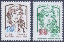 France Marianne De Ciappa Et Kawena N° 5234 Et 5235 ** Les Gommés 0.10 Et TVP Vert Surchargés - 2013-... Marianne Of Ciappa-Kawena