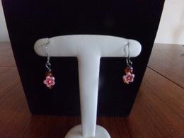 Boucles D'oreilles Fleurs Blanches, Oranges Et Perles - Earrings