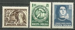 POLAND MNH ** 715-717 CONGRES MONDIAL DES ETUDIANTS à VARSOVIE - Unused Stamps