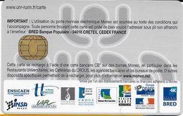 MONEO CARTE A PUCE PORTE-MONNAIE ELECTRONIQUE CROUS ROUEN SEINE-MARITIME RUN  ETAT LUXE - France