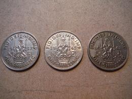 M33  3 X One Shilling George VI  1937, 1942, 1943  Silver - 1902-1971 : Monnaies Post-Victoriennes