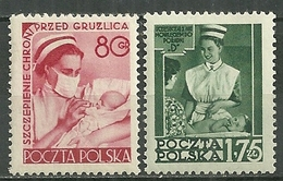 POLAND MNH ** 718-719 Sercive Social D'hygiène Enfant Bébé Infirmière Santé Soin Médecine Médecin - 1944-.... République