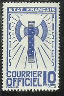 FRANCIA FRANCE 1942 1943 SERVICE SERVIZIO COURRIER OFFICIEL 10f MNH - Service