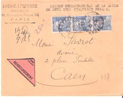 PARIS 125 Dateur A4 Sur Lettre Recommandée Provisoire - Storia Postale