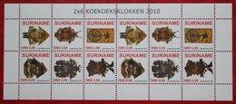 Surinam / Suriname 2010 Klokken Clocks Horloge Campana Complete Sheet (ZBL 1698-1703  Mi 2374-2379) POSTFRIS / MNH ** - Surinam