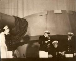 PHOTO E. BRUCKEN - MILITARIA - CÉRÉMONIE DISCOURS INAUGURATION MILITAIRE - MARINE - TANK CHAR DE COMBAT CANON - Guerre, Militaire