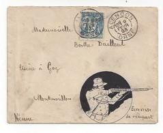 Lettre Illustrée à L'encre De Chine  -  Ecrevisse De Rempart (Militaire)  -  Sage -  Alençon 1893 - Marcophilie (Lettres)