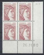 SABINE N° 2119 - Bloc De 4 COIN DATE NEUF SANS CHARNIERE - 26-11-80 - Esquina Con Fecha