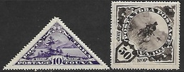 Tannu Tuva   1935   Sc#57  10k Lake Scene & #60  50k Horsemen  MNG   2016 Scott Value $9.25 - Tuva